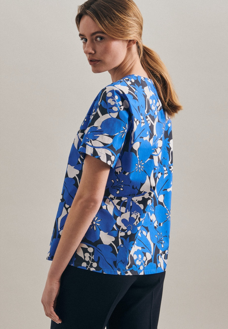 Short sleeve Popeline Shirt Blouse made of 100% Cotton in Medium blue |  Seidensticker Onlineshop