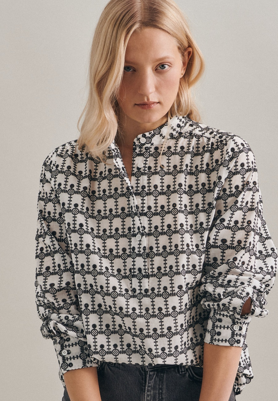 Voile Stand-Up Blouse made of 100% Cotton in Grey |  Seidensticker Onlineshop