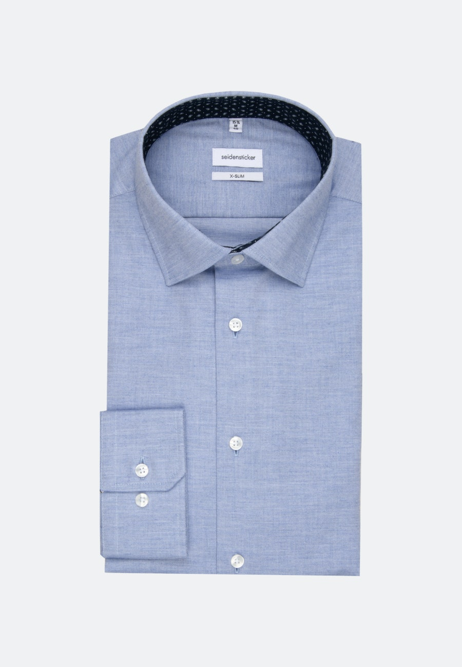 Easy-iron Twill Business Shirt in X-Slim with Kent-Collar and extra long sleeve in Light blue    Seidensticker Onlineshop