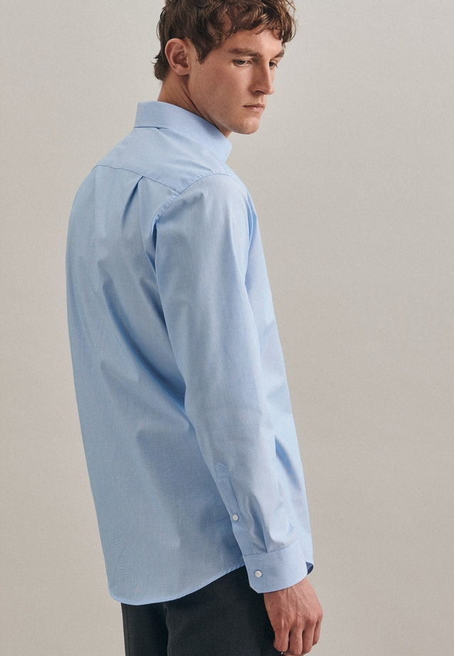 Non-iron Mille Rayé Business Shirt in Regular with Kent-Collar in Turquoise |  Seidensticker Onlineshop