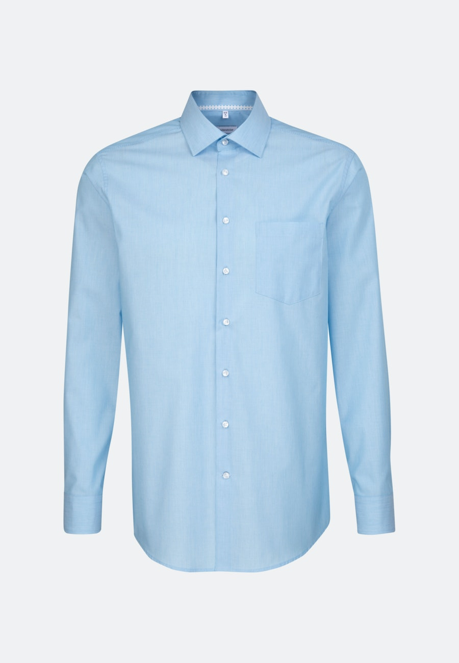 Non-iron Mille Rayé Business Shirt in Regular with Kent-Collar in Turquoise    Seidensticker Onlineshop