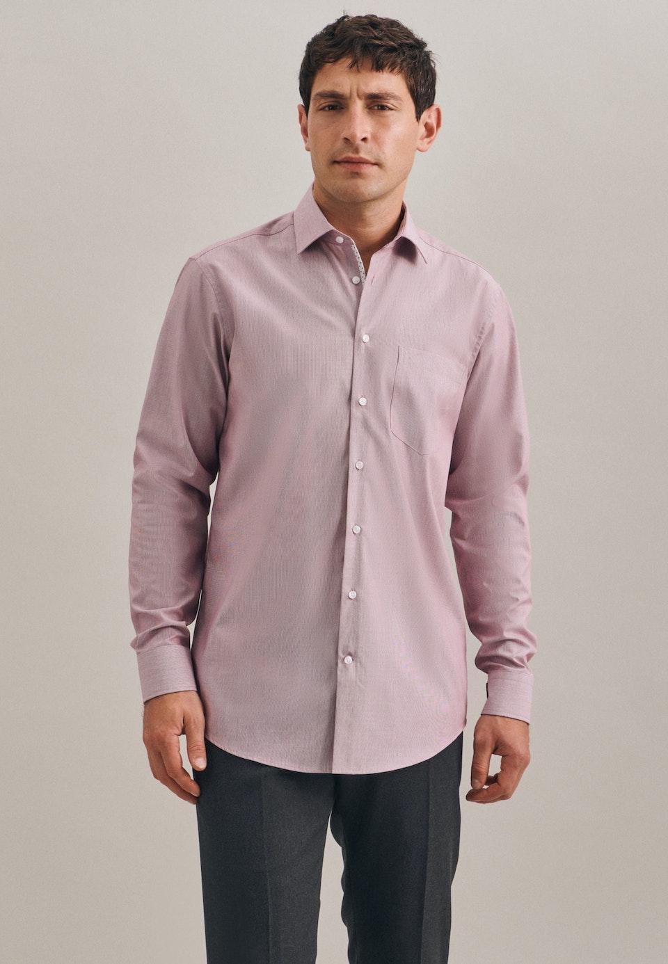 Bügelfreies Mille Rayé Business Hemd in Regular mit Kentkragen in Rot    Seidensticker Onlineshop