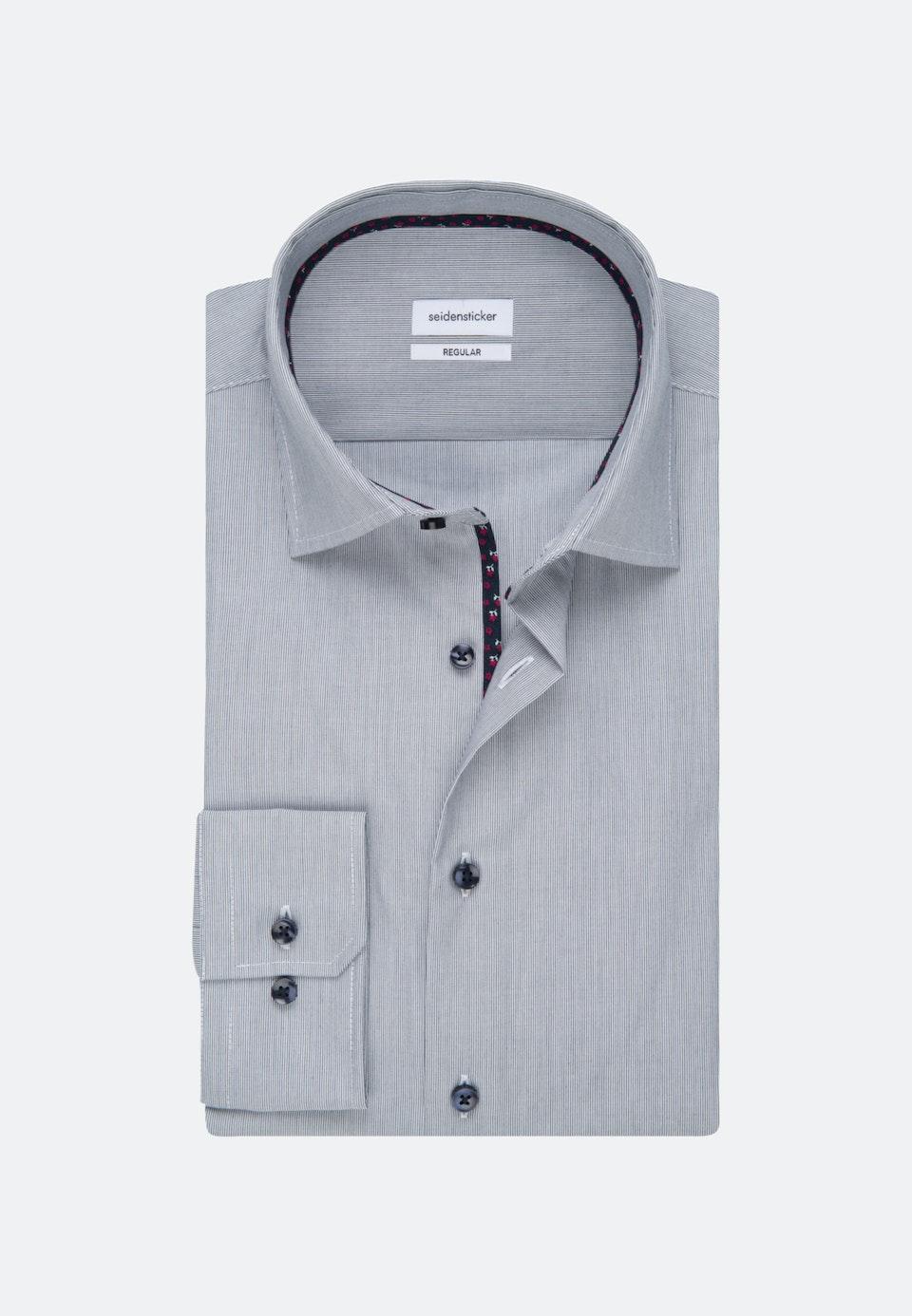 Bügelfreies Mille Rayé Business Hemd in Regular mit Kentkragen in Dunkelblau    Seidensticker Onlineshop