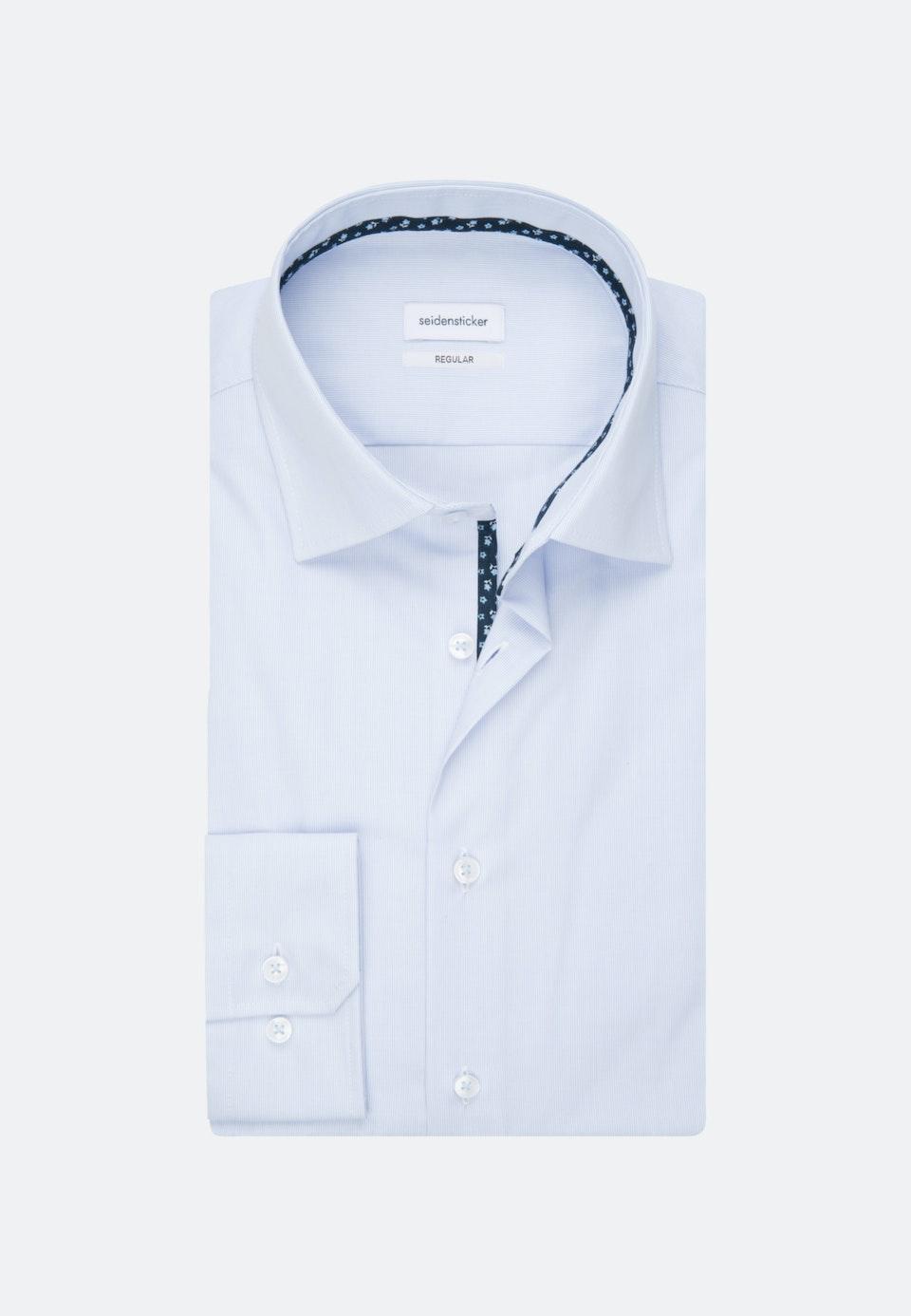 Bügelfreies Mille Rayé Business Hemd in Regular mit Kentkragen in Hellblau    Seidensticker Onlineshop