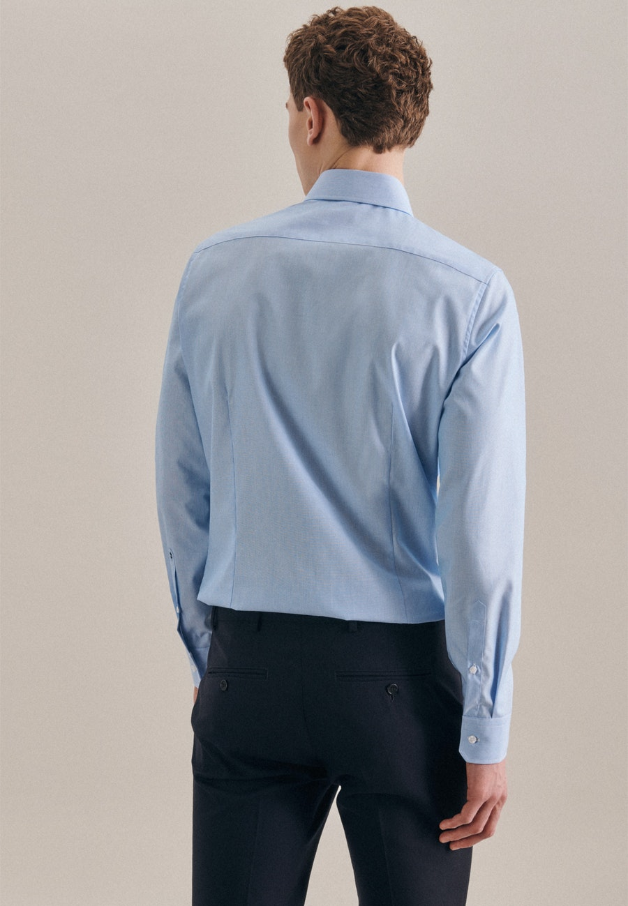 Bügelfreies Mille Rayé Business Hemd in Slim mit Kentkragen in Türkis/Petrol |  Seidensticker Onlineshop