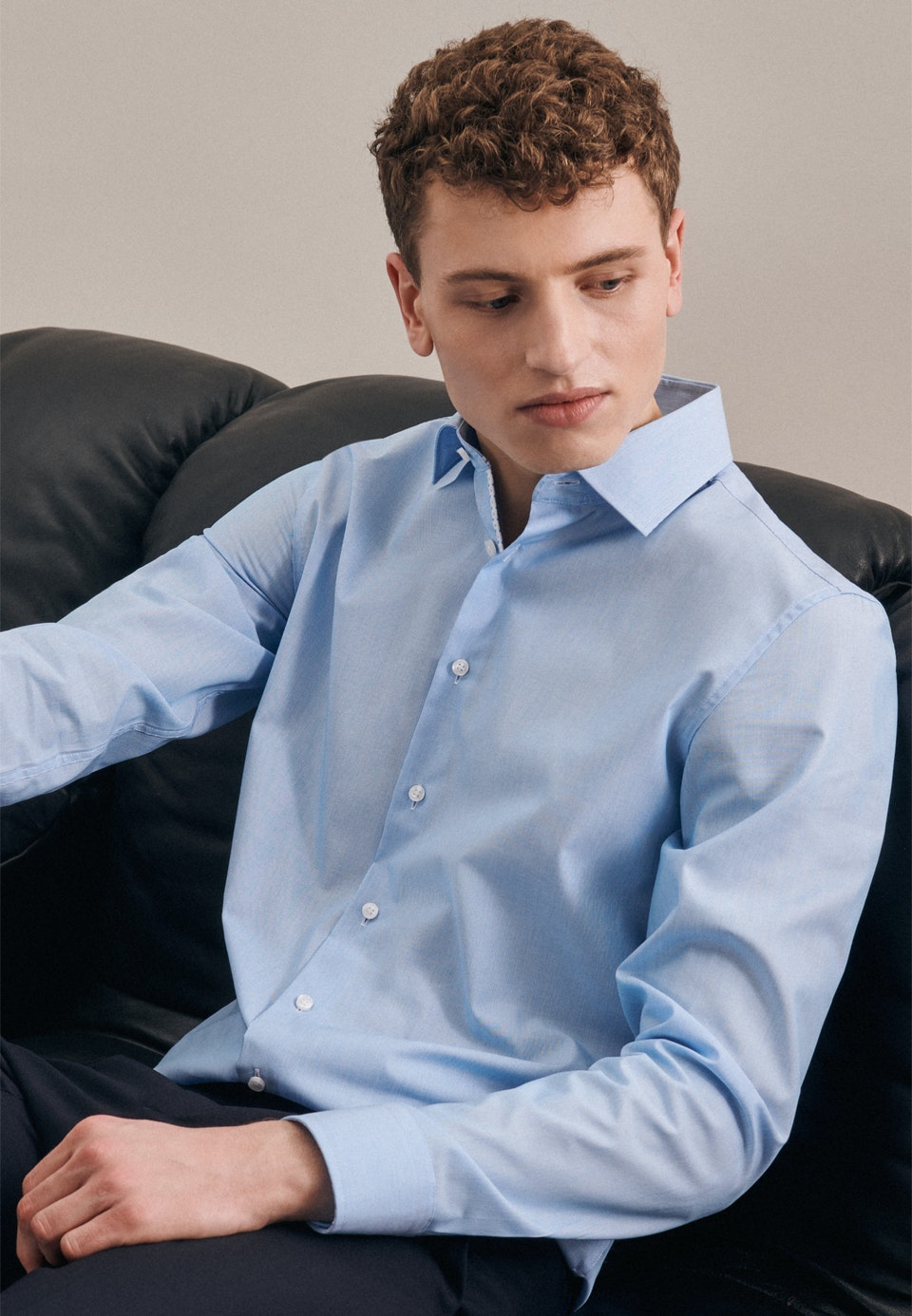 Non-iron Mille Rayé Business Shirt in Slim with Kent-Collar in Turquoise |  Seidensticker Onlineshop