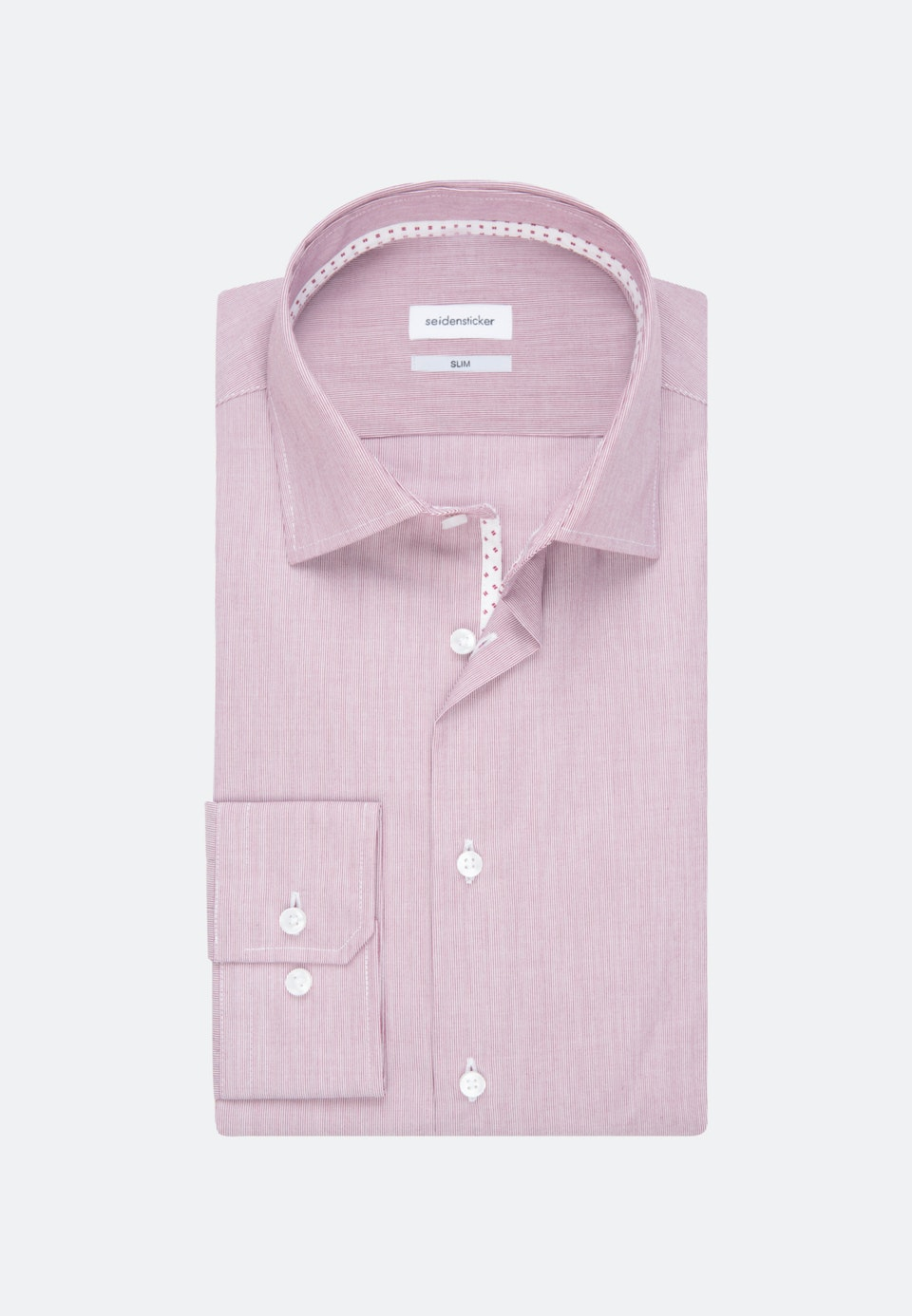 Non-iron Mille Rayé Business Shirt in Slim with Kent-Collar in Red    Seidensticker Onlineshop