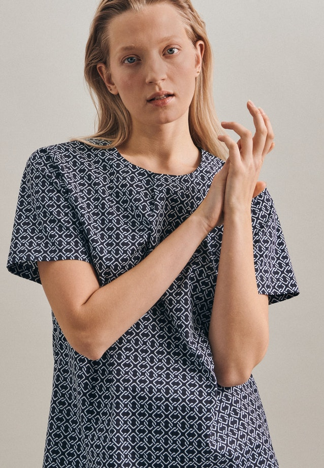 Short sleeve Popeline Shirt Blouse made of cotton blend in Dark blue |  Seidensticker Onlineshop