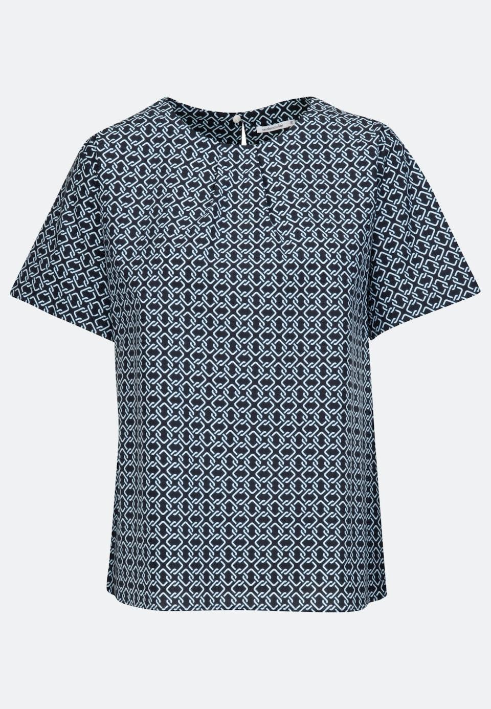 Kurzarm Popeline Shirtbluse aus Baumwollmischung in Dunkelblau    Seidensticker Onlineshop