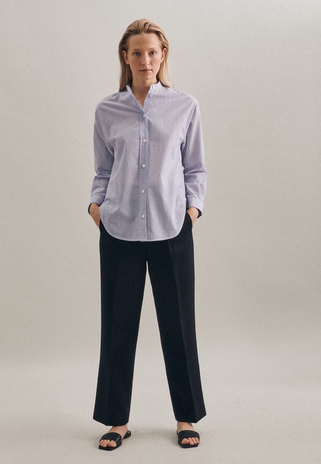 Voile Stand-Up Blouse made of 100% Cotton in Medium blue |  Seidensticker Onlineshop
