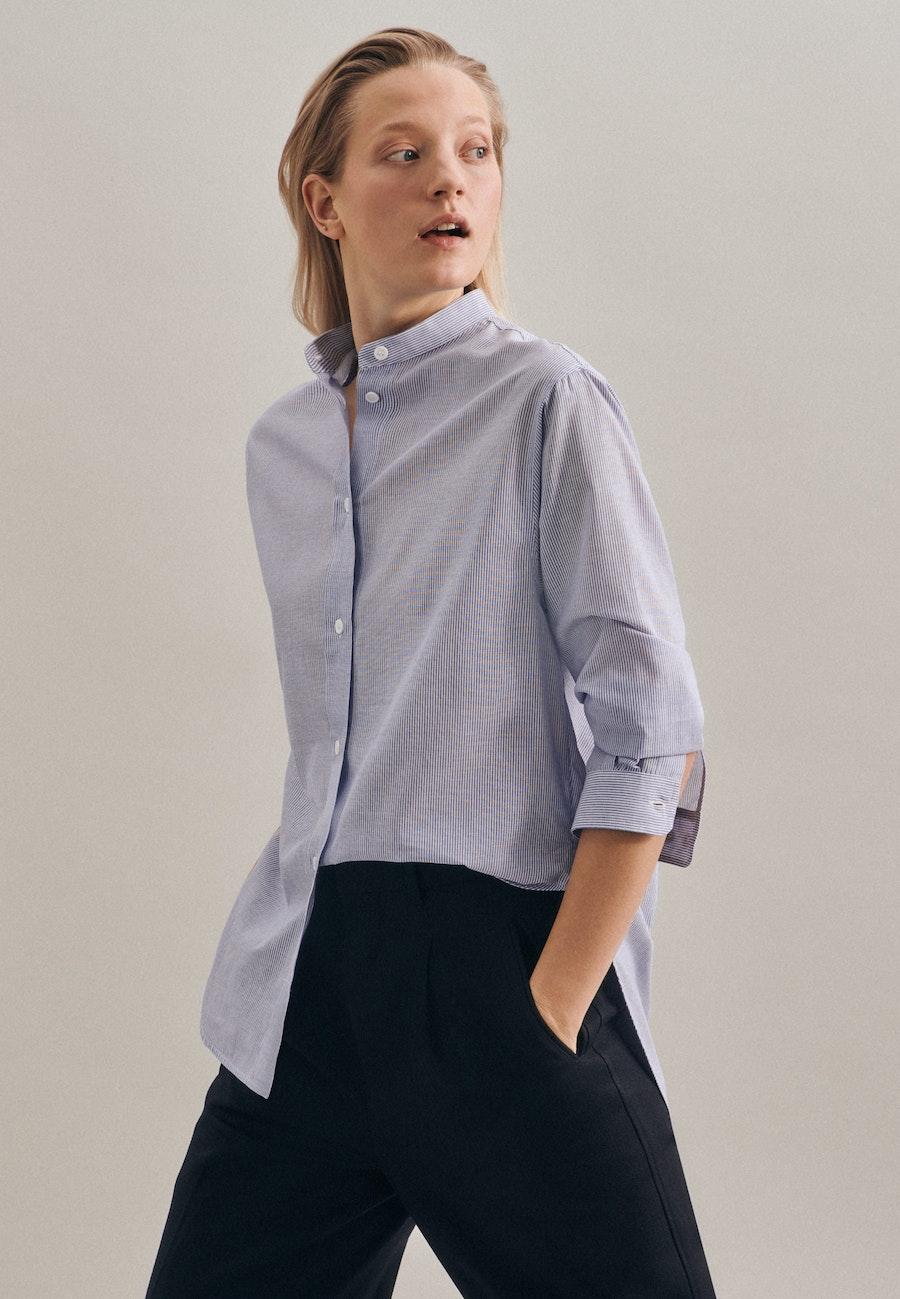 Voile Stand-Up Blouse made of 100% Cotton in Medium blue |  Seidensticker Onlineshop