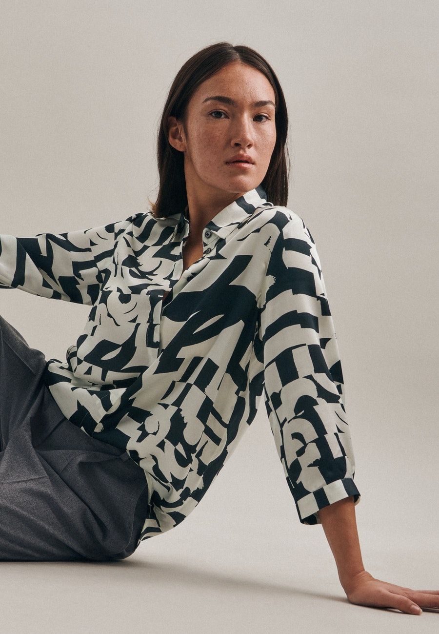 3/4-sleeve Satin Shirt Blouse made of 100% Viscose in Grey |  Seidensticker Onlineshop