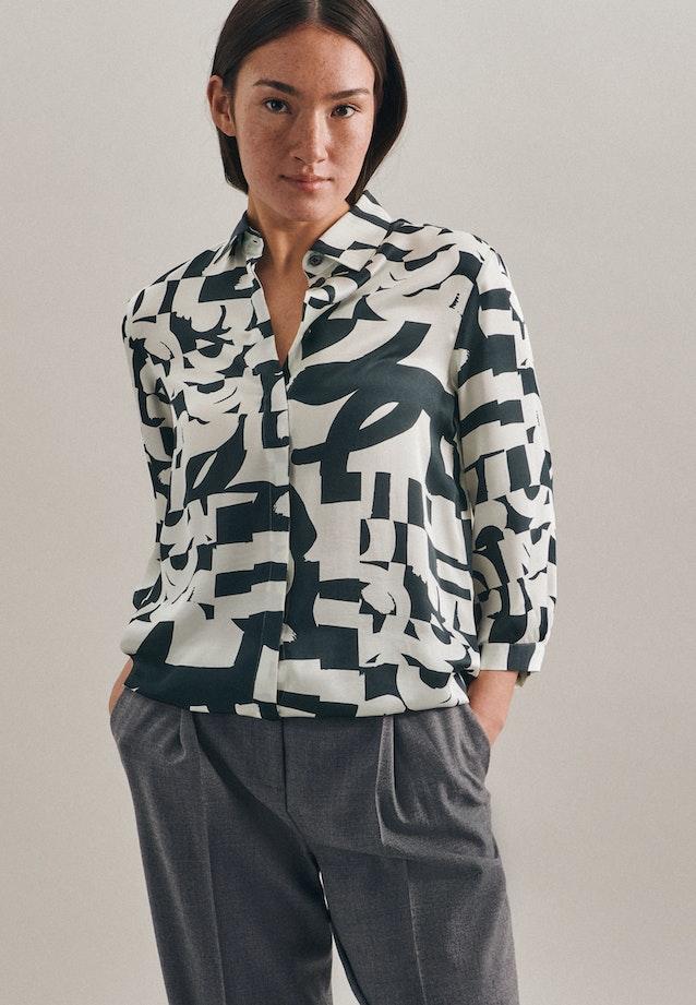 3/4-Arm Satin Hemdbluse aus 100% Viskose in Grau |  Seidensticker Onlineshop