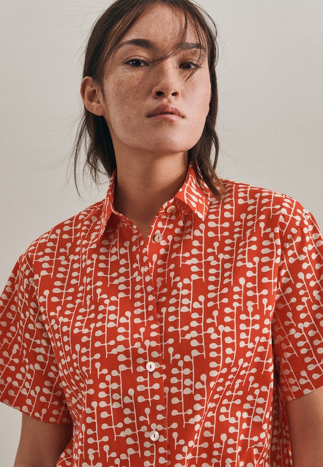 Popeline Shirt Blouse made of 100% Cotton in Red |  Seidensticker Onlineshop