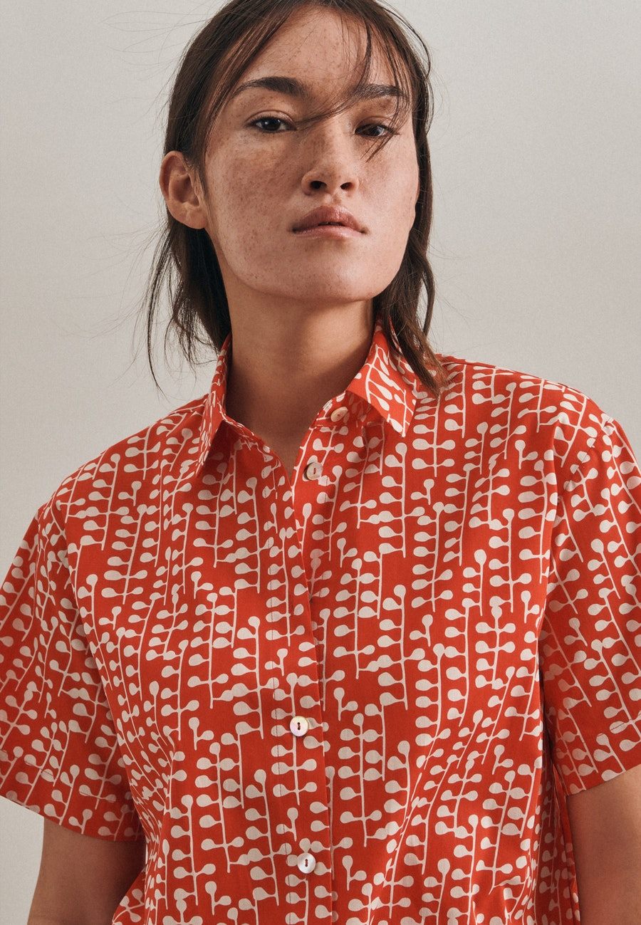 Kurzarm Popeline Hemdbluse aus 100% Baumwolle in Rot |  Seidensticker Onlineshop