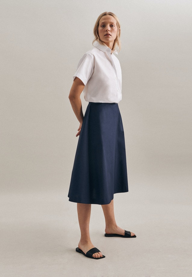 Popeline Midi Skirt made of 100% Cotton in Dark blue |  Seidensticker Onlineshop