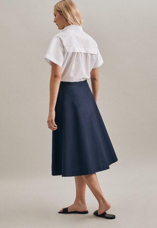 Popeline Midi Skirt made of 100% Cotton in Dark blue |  Seidensticker Onlineshop