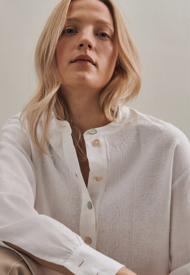 Leinen Stand-Up Blouse made of 100% Linen in White |  Seidensticker Onlineshop