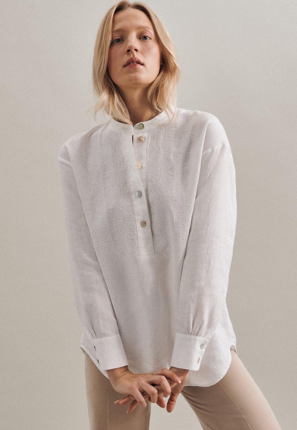 Leinen Stand-Up Blouse made of 100% Linen in White |  Seidensticker Onlineshop
