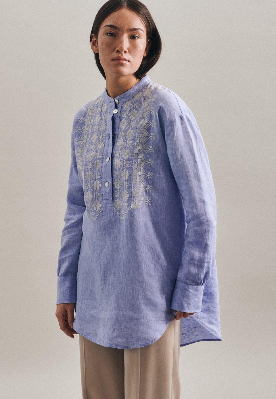 Leinen Stand-Up Blouse made of 100% Linen in Dark blue |  Seidensticker Onlineshop