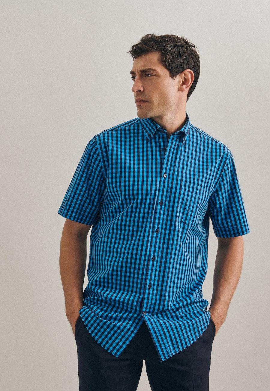 Bügelleichtes Popeline Kurzarm Business Hemd in Regular mit Button-Down-Kragen in Türkis/Petrol    Seidensticker Onlineshop