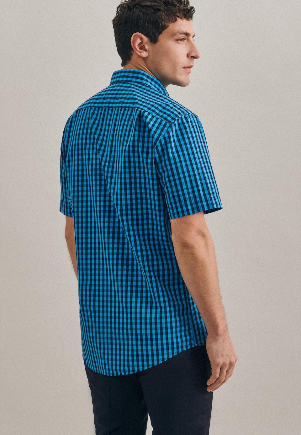 Popeline Kurzarm Business Hemd in Regular mit Button-Down-Kragen in Türkis/Petrol |  Seidensticker Onlineshop