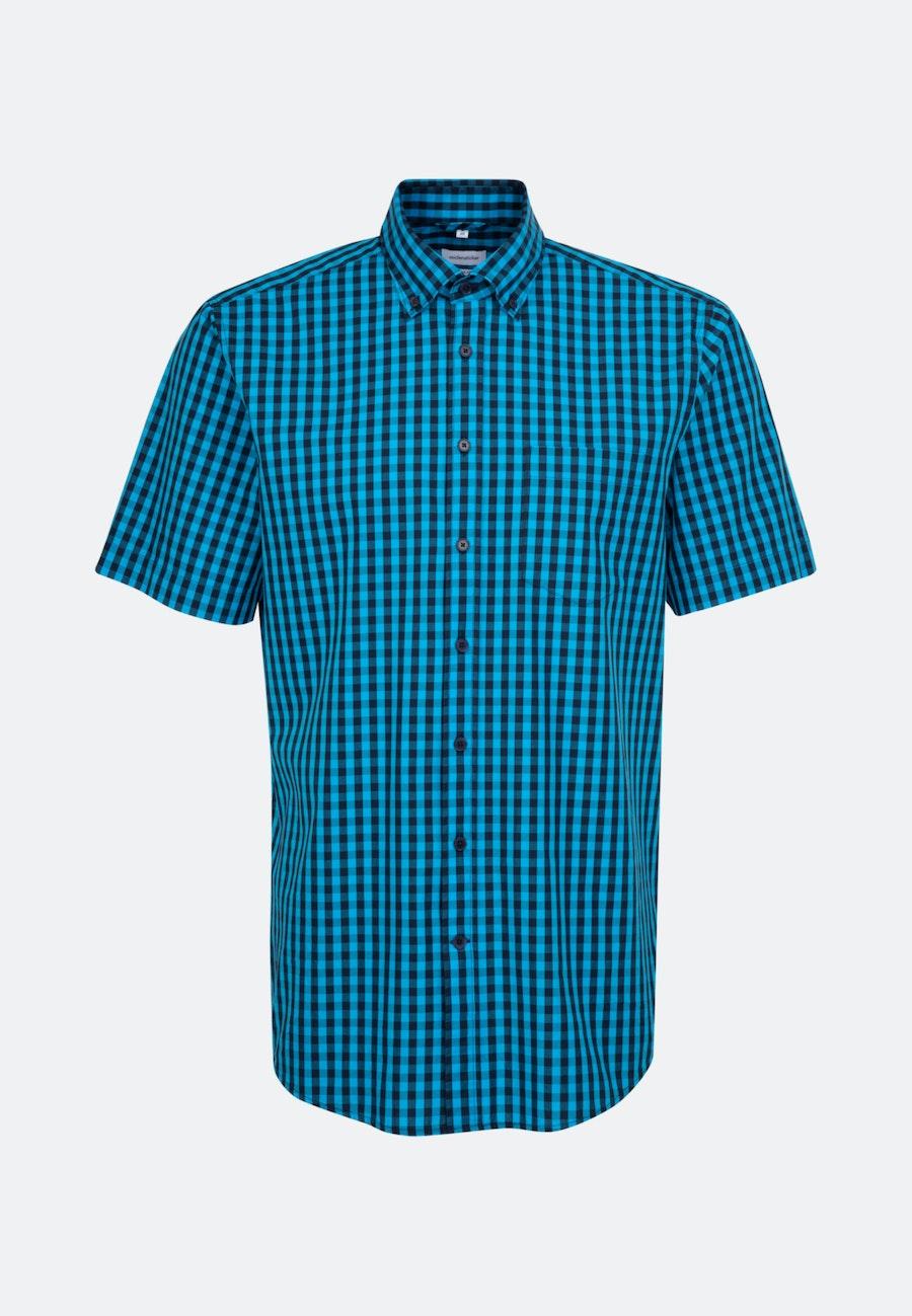 Easy-iron Popeline Short sleeve Business Shirt in Regular with Button-Down-Collar in Turquoise |  Seidensticker Onlineshop