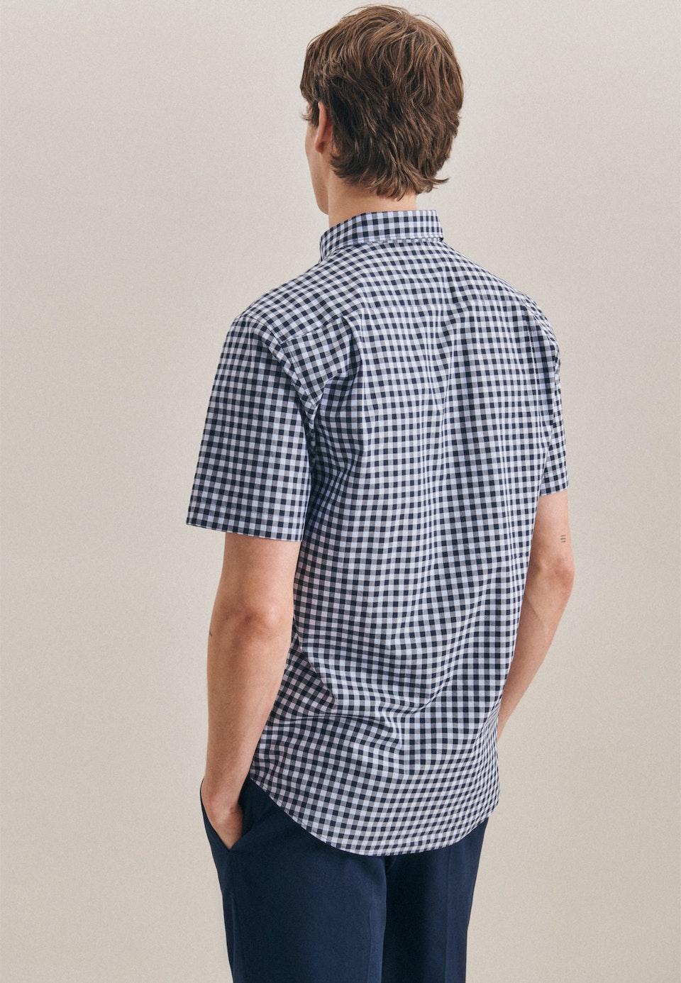 Popeline Kurzarm Business Hemd in Regular mit Button-Down-Kragen in Hellblau |  Seidensticker Onlineshop