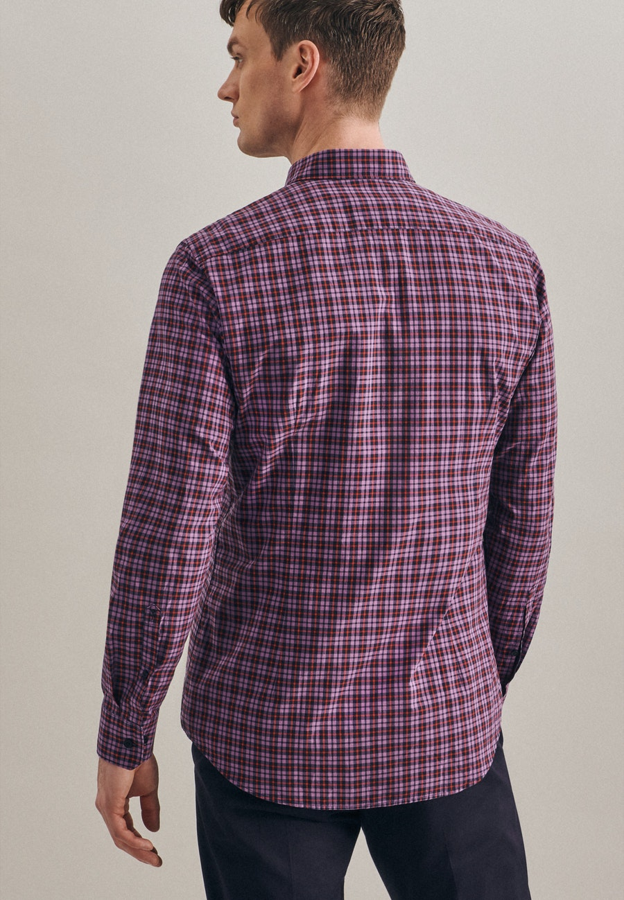 Popeline Business Hemd in Shaped mit Button-Down-Kragen in Lila    Seidensticker Onlineshop