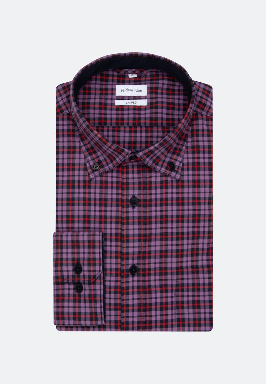 Easy-iron Popeline Business Shirt in Shaped with Button-Down-Collar in Purple |  Seidensticker Onlineshop