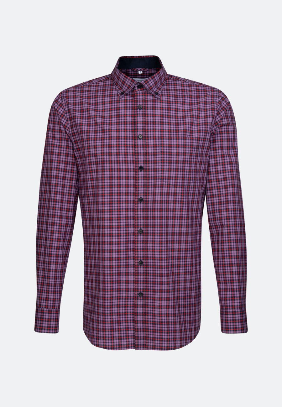 Bügelleichtes Popeline Business Hemd in Shaped mit Button-Down-Kragen in Lila |  Seidensticker Onlineshop
