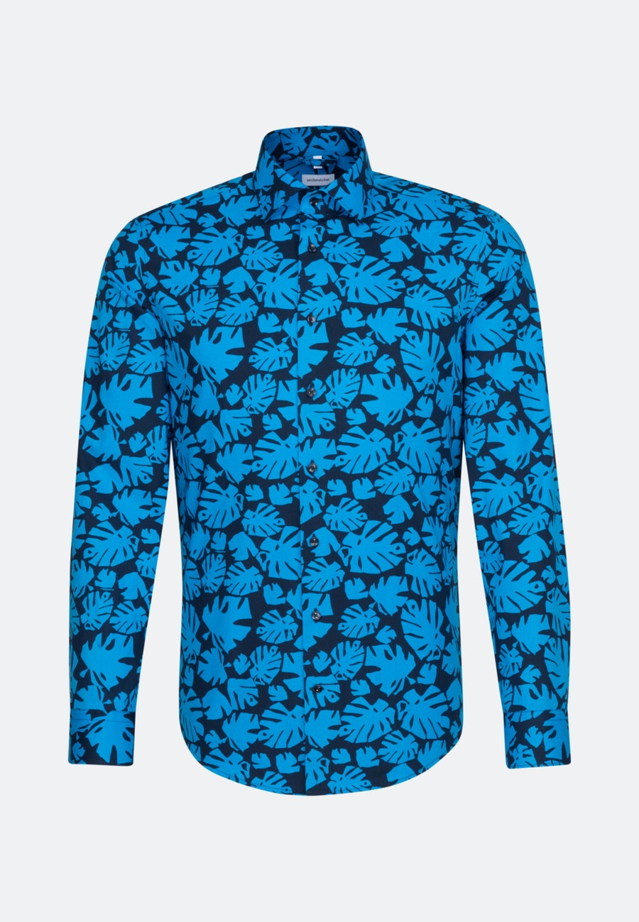 Easy-iron Popeline Business Shirt in Shaped with Kent-Collar in Turquoise |  Seidensticker Onlineshop