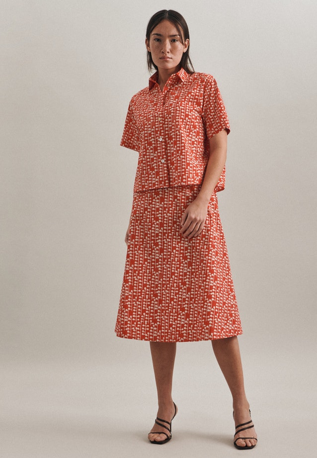 Popeline Midi Skirt made of 100% Cotton in Red |  Seidensticker Onlineshop