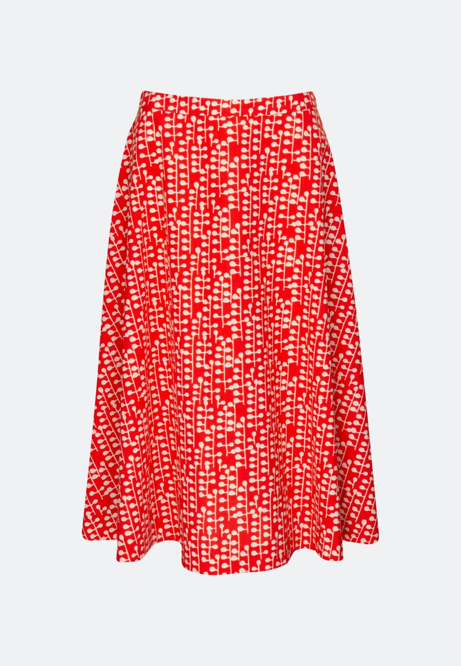 Popeline Midi Skirt made of 100% Cotton in Red |  Seidensticker Onlineshop