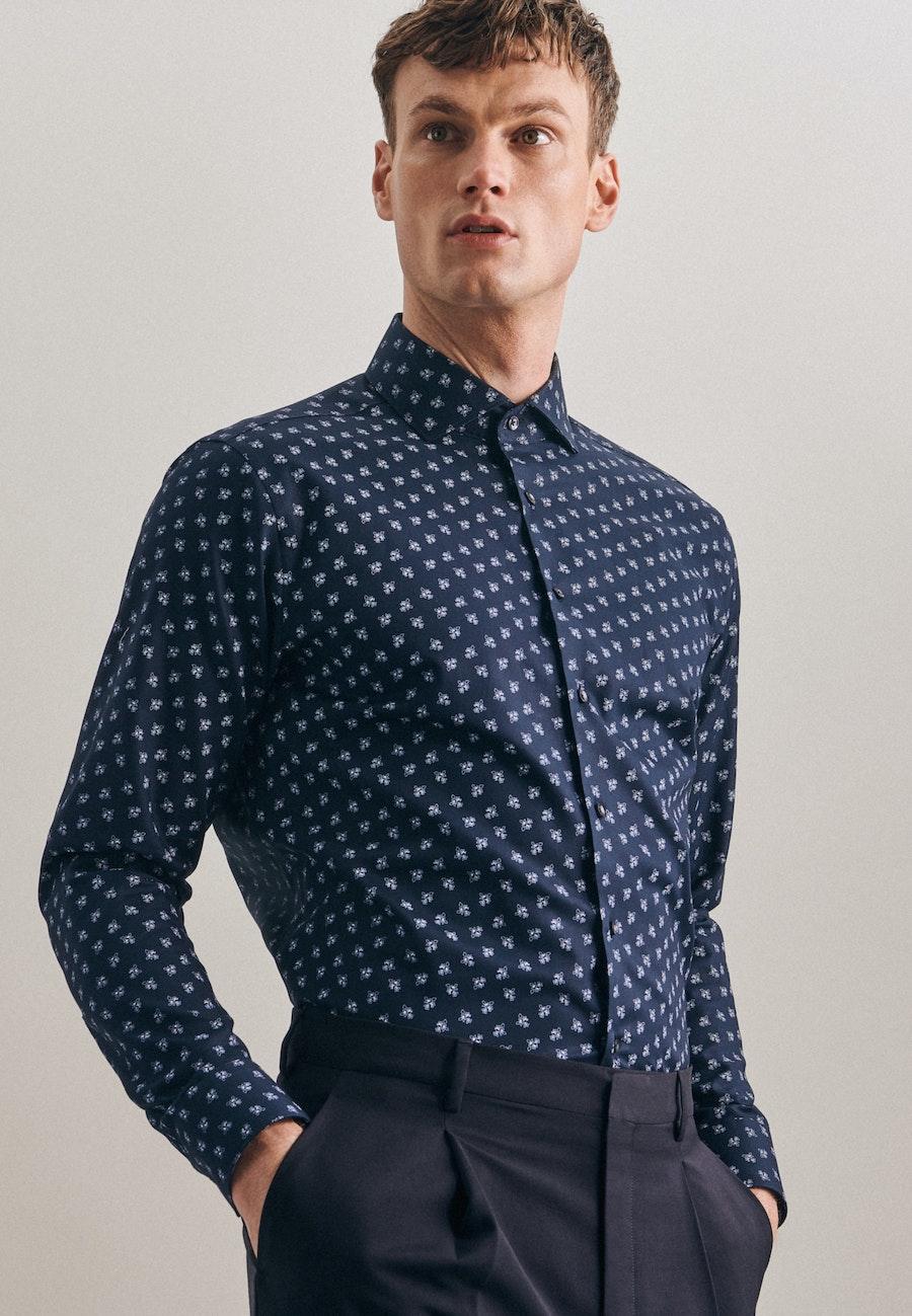 Oxfordhemd in Regular mit Kentkragen und extra langem Arm in Dunkelblau    Seidensticker Onlineshop
