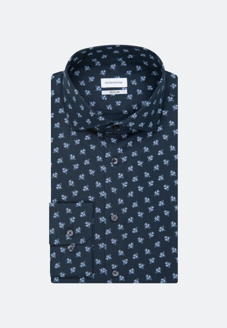 Bügelleichtes Oxford Business Hemd in Regular mit Kentkragen und extra langem Arm in Dunkelblau    Seidensticker Onlineshop