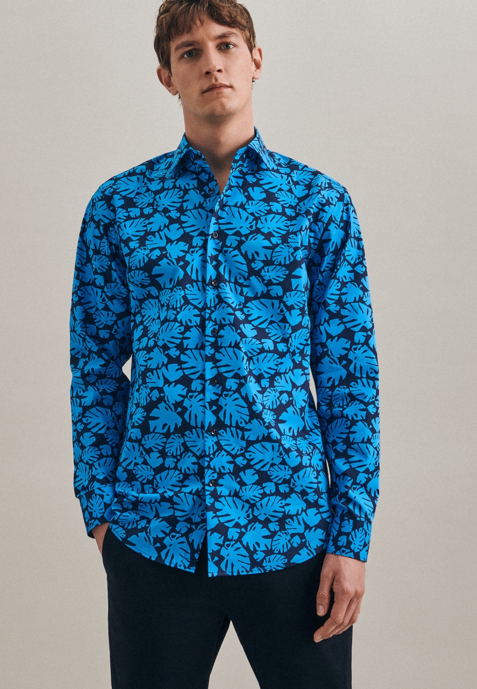 Easy-iron Popeline Business Shirt in Regular with Kent-Collar in Turquoise    Seidensticker Onlineshop