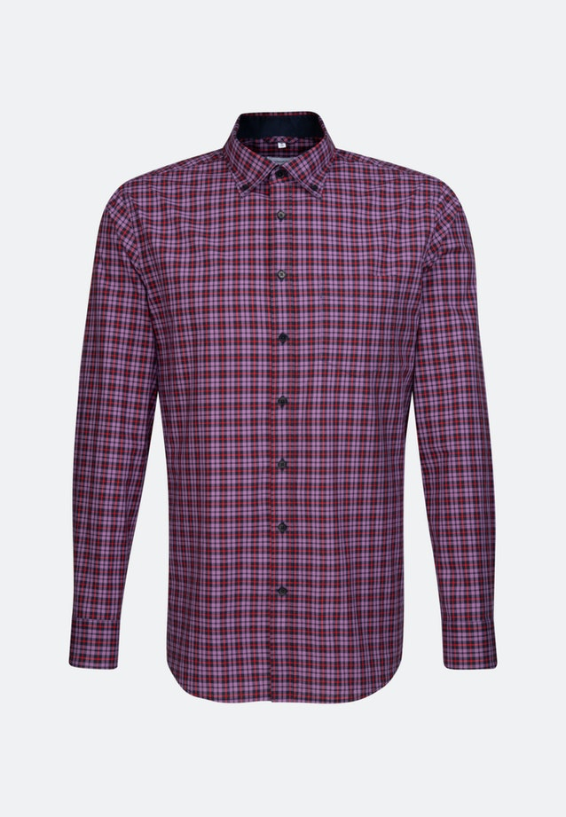 Easy-iron Popeline Business Shirt in Regular with Button-Down-Collar in Purple |  Seidensticker Onlineshop