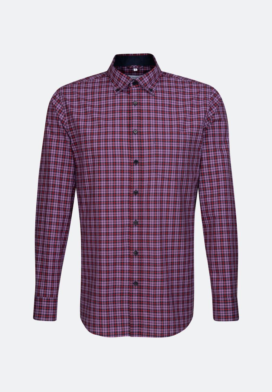 Easy-iron Popeline Business Shirt in Regular with Button-Down-Collar in Purple |  Seidensticker Onlineshop