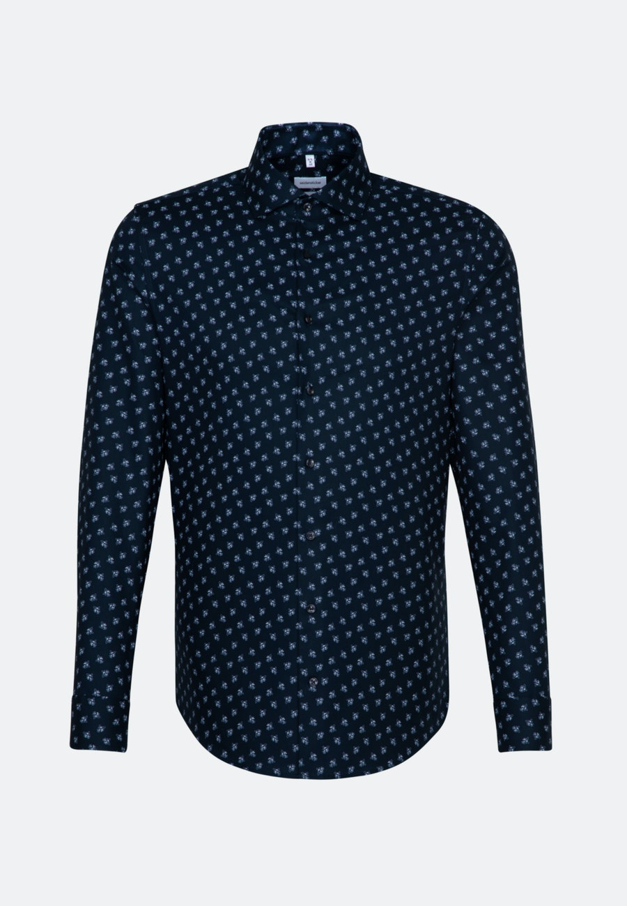 Bügelleichtes Oxford Business Hemd in Shaped mit Kentkragen und extra langem Arm in Dunkelblau |  Seidensticker Onlineshop