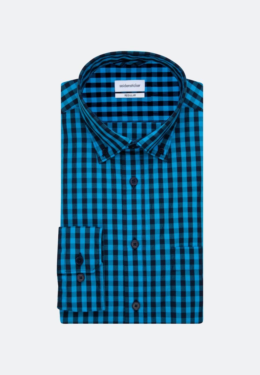 Easy-iron Popeline Business Shirt in Regular with Button-Down-Collar in Turquoise |  Seidensticker Onlineshop