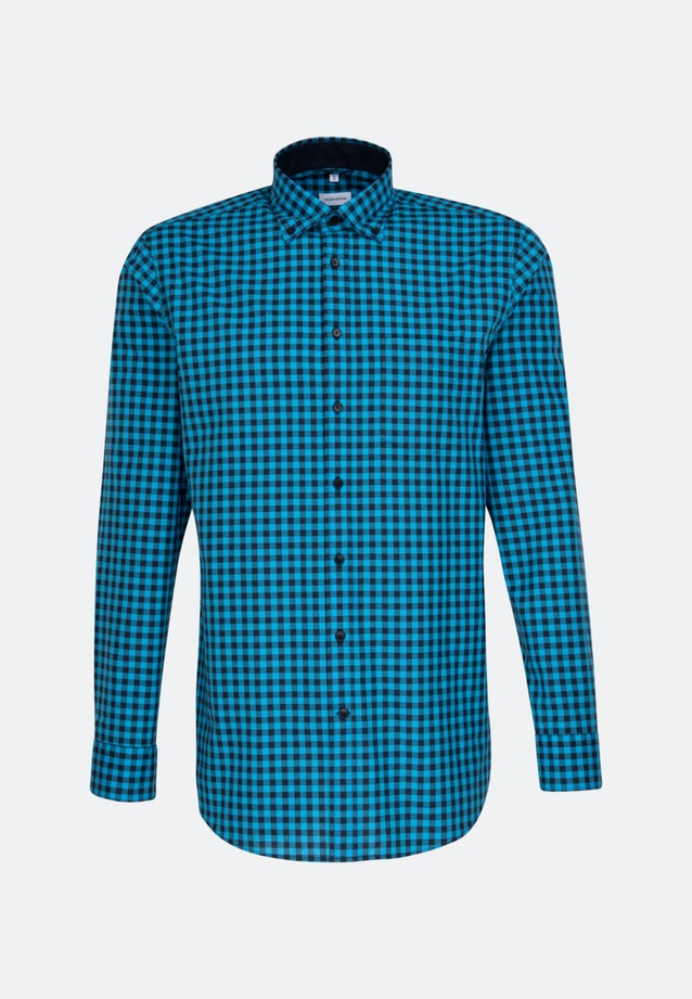 Easy-iron Popeline Business Shirt in Regular with Button-Down-Collar in Turquoise |  Seidensticker Onlineshop