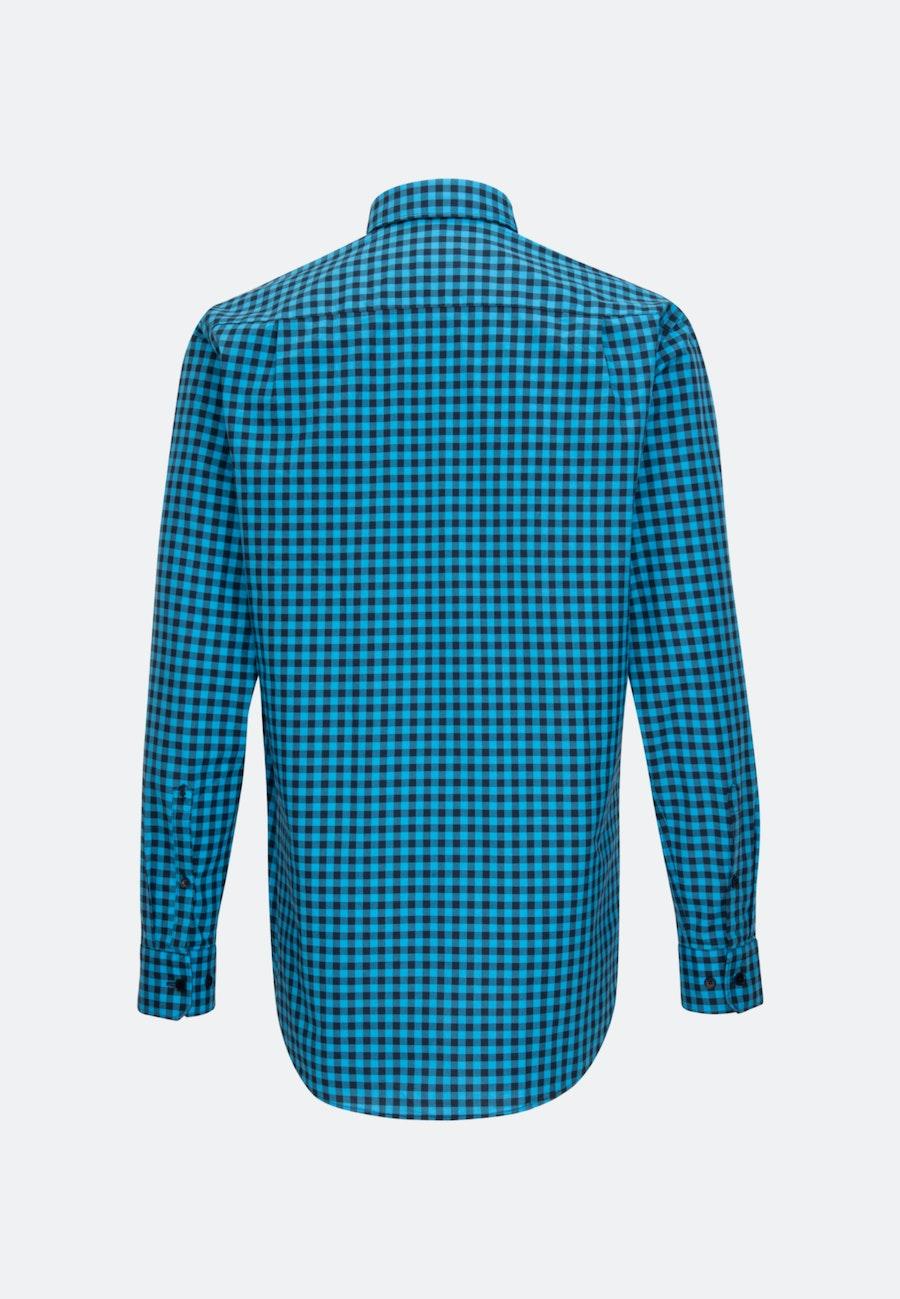 Bügelleichtes Popeline Business Hemd in Regular mit Button-Down-Kragen in Türkis/Petrol |  Seidensticker Onlineshop