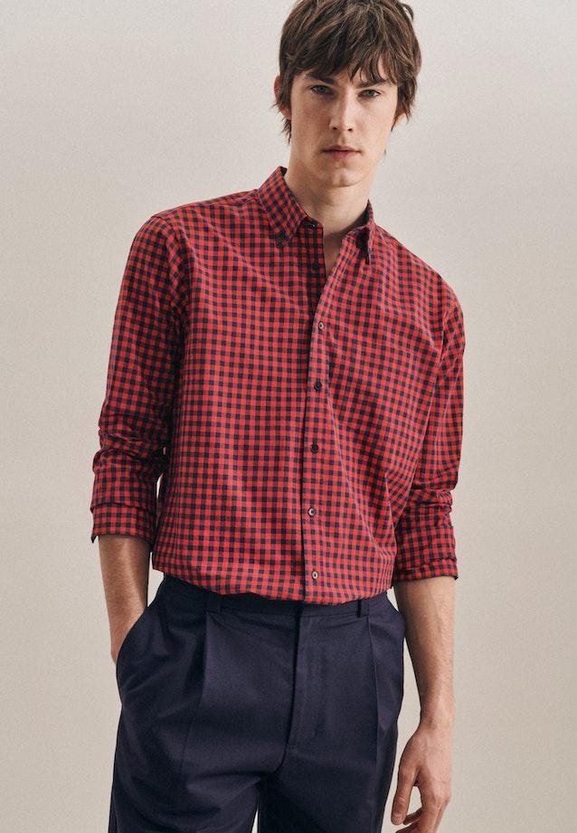 Popeline Business Hemd in Regular mit Button-Down-Kragen in Rot |  Seidensticker Onlineshop
