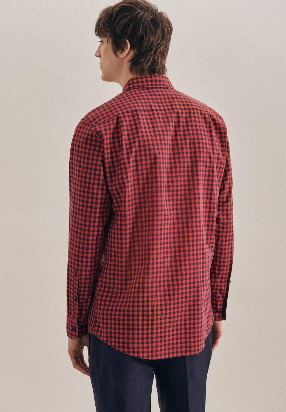 Easy-iron Poplin Business Shirt in Regular with Button-Down-Collar in Red    Seidensticker Onlineshop