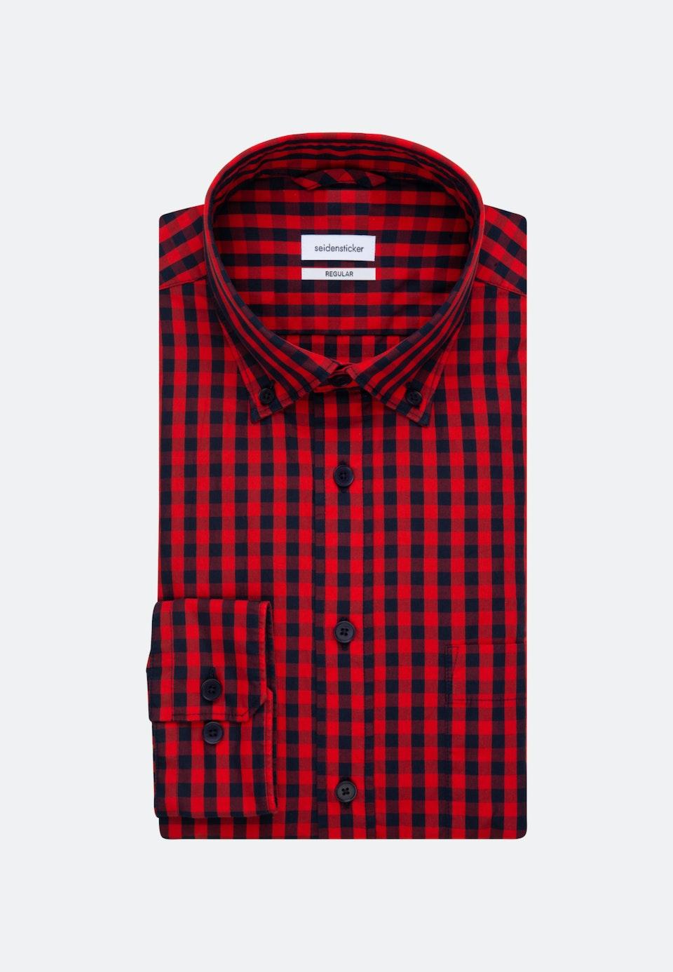 Poplin Business Shirt in Regular with Button-Down-Collar in Red    Seidensticker Onlineshop