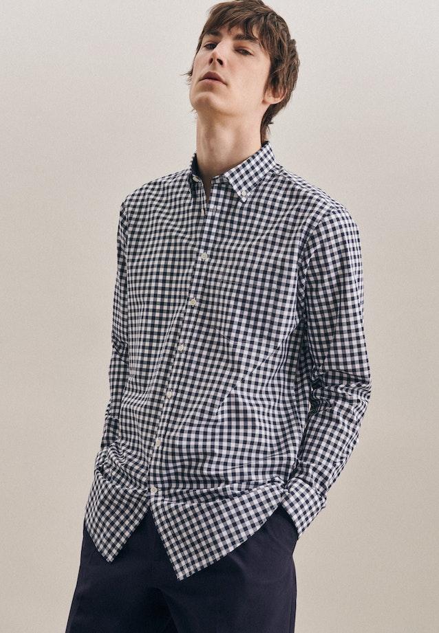 Popeline Business Hemd in Regular mit Button-Down-Kragen in Dunkelblau |  Seidensticker Onlineshop