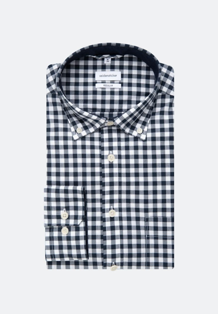 Popeline Business Hemd in Regular mit Button-Down-Kragen in Dunkelblau    Seidensticker Onlineshop