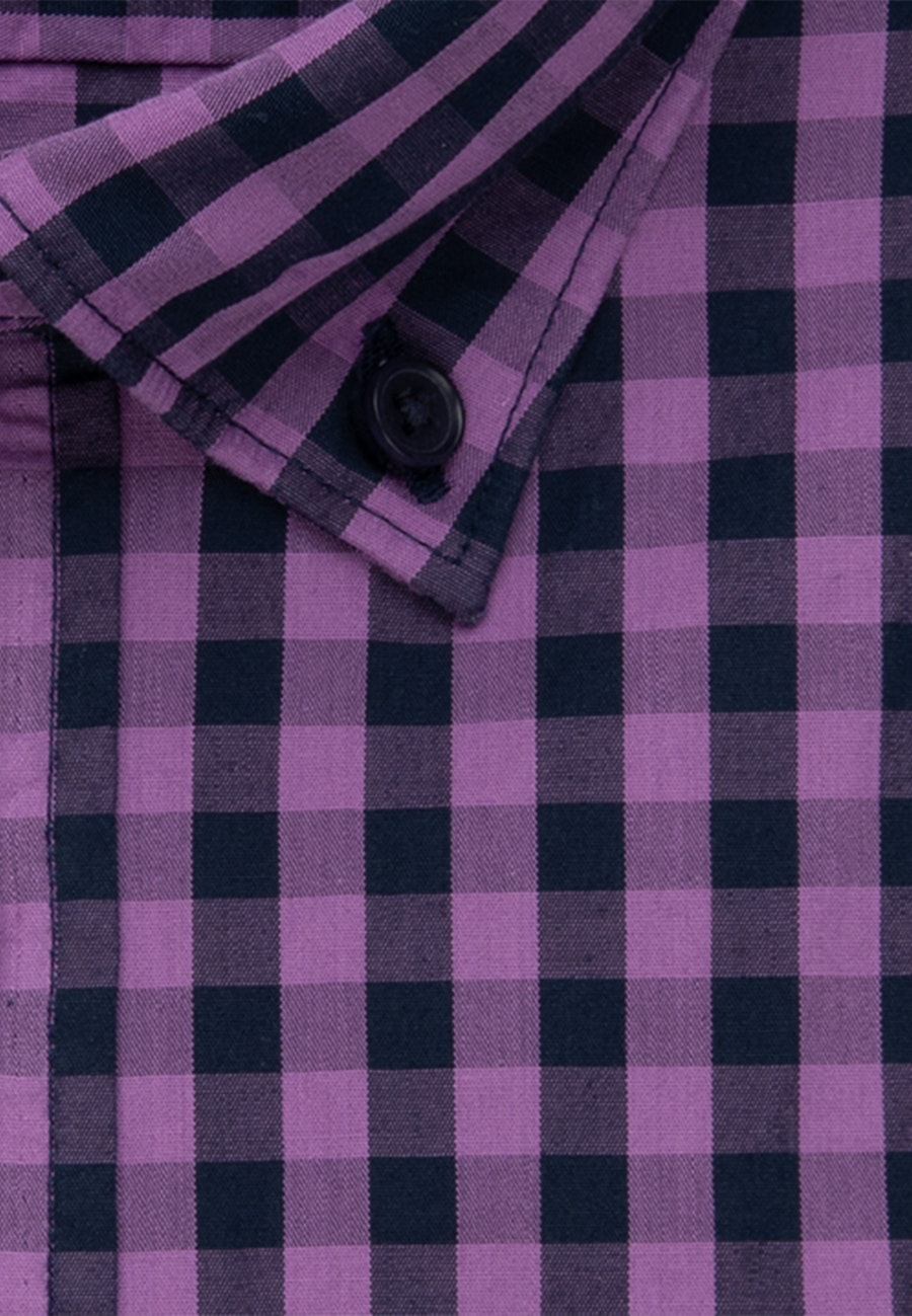 Bügelleichtes Popeline Business Hemd in Regular mit Button-Down-Kragen in Lila |  Seidensticker Onlineshop