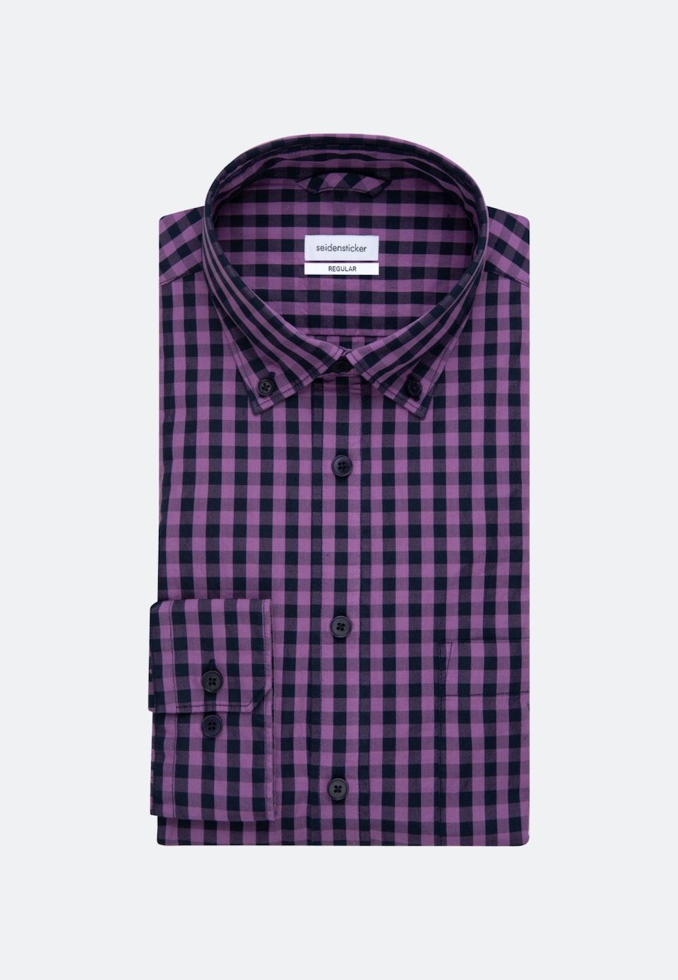 Easy-iron Popeline Business Shirt in Regular with Button-Down-Collar in Purple    Seidensticker Onlineshop